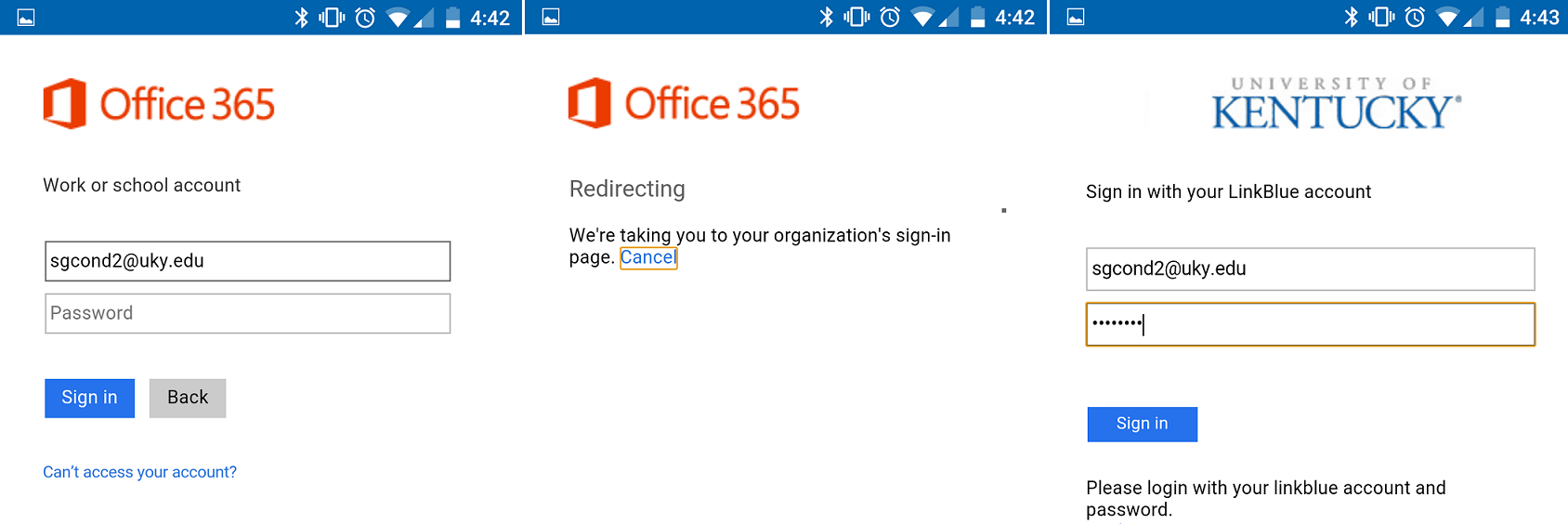 Updating the outlook app for android to work with office 365 college of arts sciences - Office 365 exchange login ...