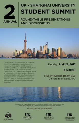 Students from Shanghai University (SHU) will get a taste of the bluegrass this week as the UK American Studies Program in the College of Arts and Sciences will host a summit for SHU students on Monday, April 22.