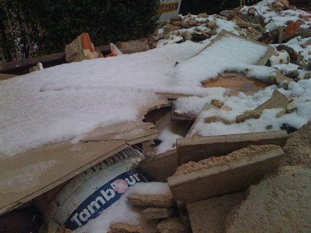 Snow covered construction materials