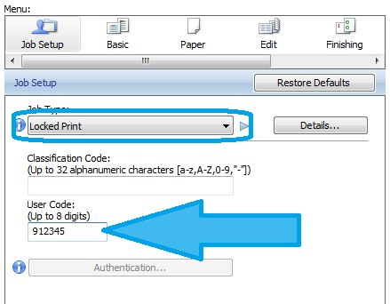 Configuring locked print and entering user code on Ricoh copiers