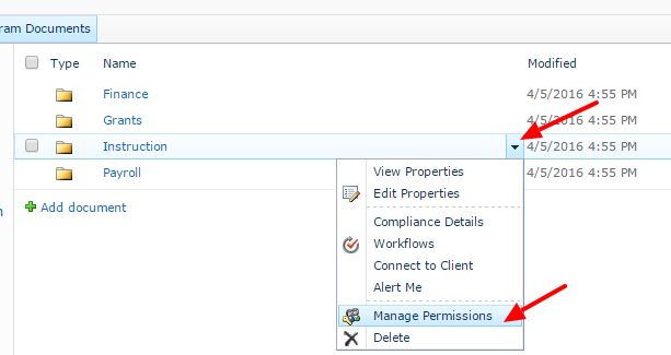 SharePoint - managing file/folder-level permissions | College of