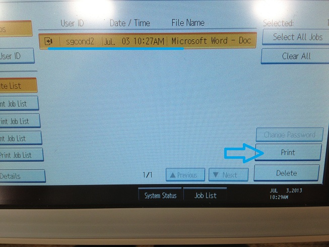 Configuring locked print and entering user code on Ricoh