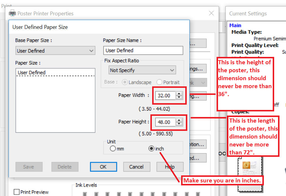 put the height of the poster in the paper width and the length in the paper height then click ok and ok again