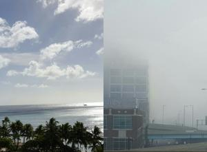 Examples of atmospheric particles. Left: clouds over Waikiki Beach in Honolulu, Hawaii. Right: fog over Cincinnati, Ohio. Credit: Alexis Eugene