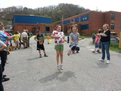 Children jump rope at a Walk Perry County event