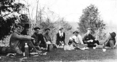 "In 1919, Miller prepared ""Geology of Kentucky"" that was published by the Kentucky Geological Survey. Here he is seen (on left) as a member of a later exploration party at Hines Cave. Photo courtesy of UK Special Collections."