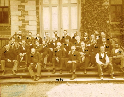 After graduating Princeton, Arthur M. Miller spent a year as professor of natural history at Wilson College, another year studying abroad at University of Munich, and then took a post at Agricultural and Mechanical College of Kentucky in 1892 as professor of geology. He remained at UK until his death in 1929. He is #25 in this photo of the institution's faculty. Photo courtesy of UK Special Collections.