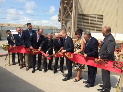 Gov. Steve Beshear (fifth from right) cut the ribbon to begin construction of Kentucky's first megawatt-scale carbon capture pilot unit at an operating power plant located at Kentucky Utilities Company's E.W. Brown Generating Station, near Harrodsburg.