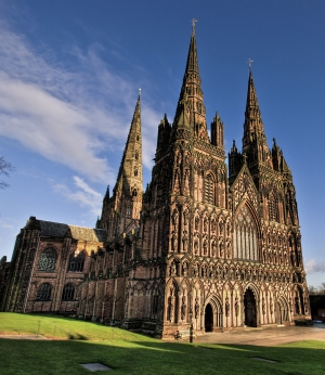 Lichfield Cathedral in Wales, where the St. Chad Gospels are housed.