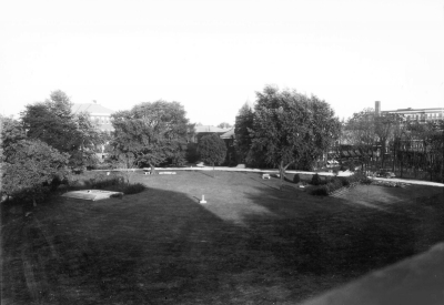 About 25 feet of the original track was to be set on a concrete base on the campus of the university, in front of Mechanical Hall (razed in 1964 to make room for the F. Paul Anderson Tower). Here the memorial sits to the left with Mechanical Hall in the center and the Science (now Miller) Building on the right. Photo courtesy of UK Special Collections.