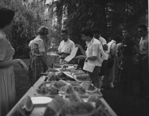 In addition to classes, students participating in UK Summer School often take part in fun campus events like this watermelon feast in 1956. Photo courtesy of UK Special Collections.