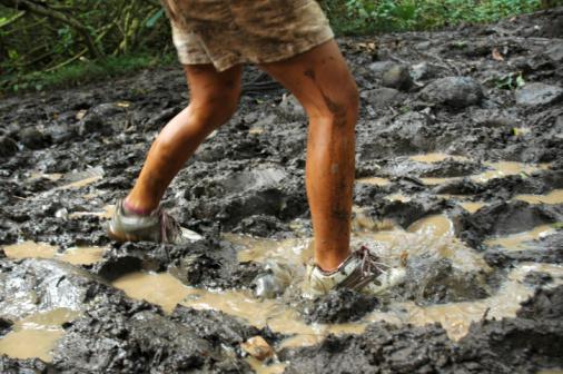 walking in mud
